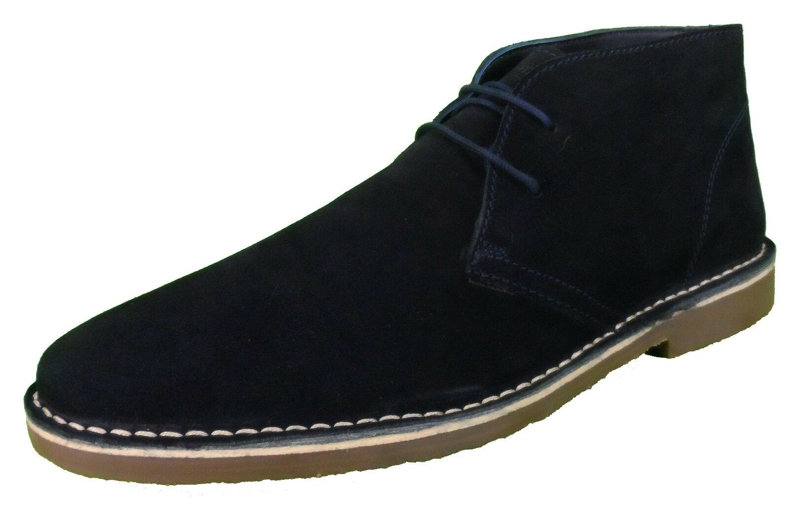 Roamers Navy 2 Eyelet Sharp Toe Retro MOD Style Real Suede Desert Boots