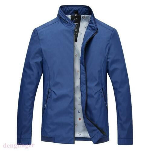 Men New Stand Collar Long Sleeve Slim Fit Formal Casual Coat Jacket Fall NEW SZ