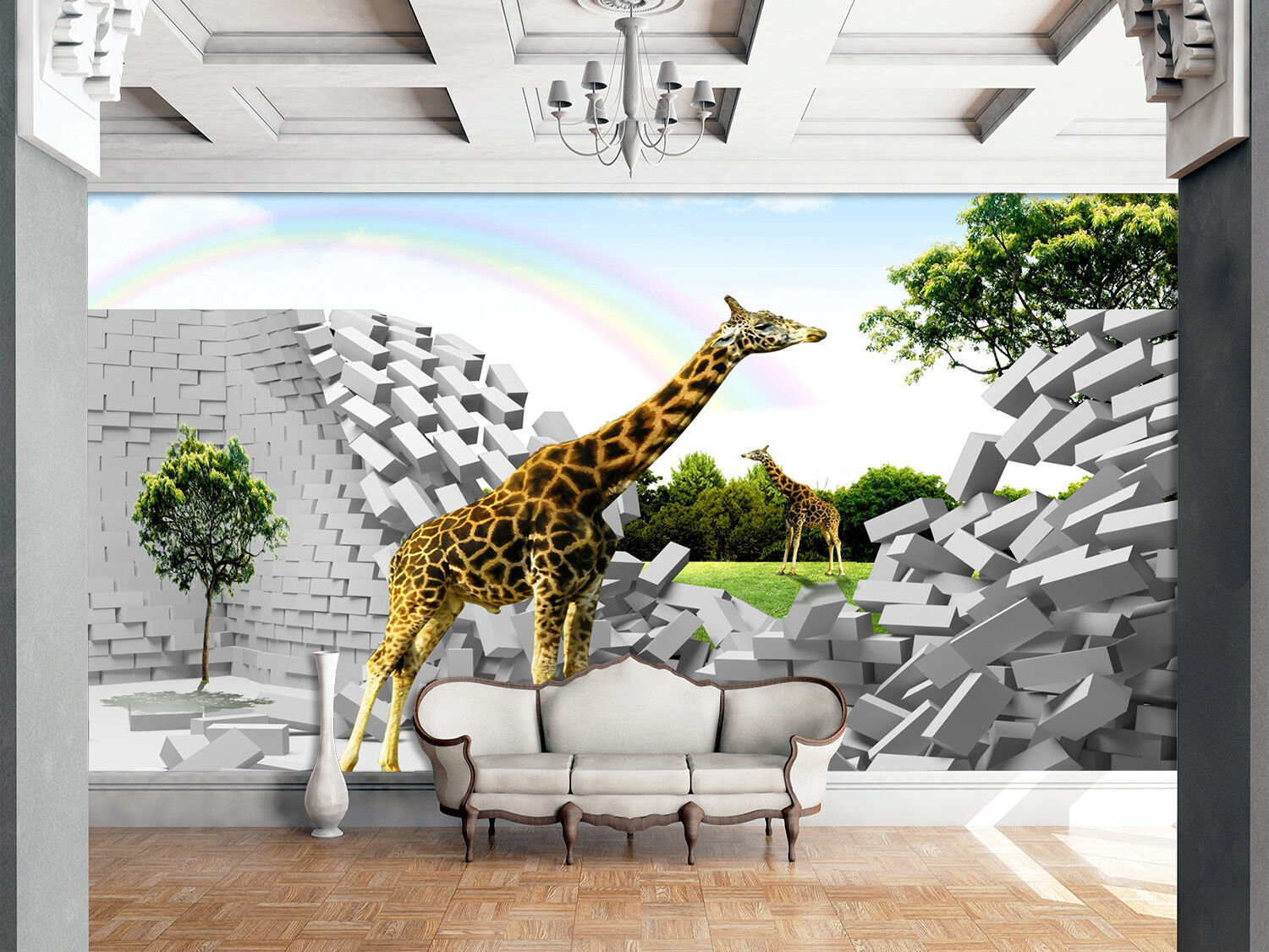 3D Two giraffes 3243 Wall Paper Print Wall Decal Deco Indoor Wall Murals