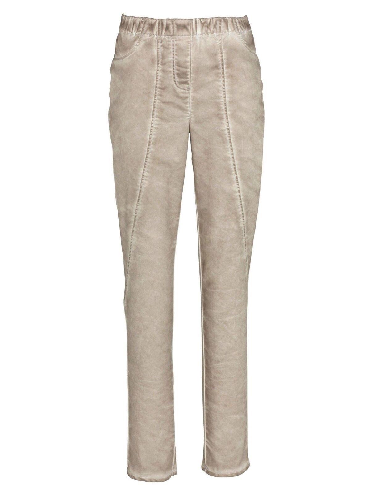 Miamoda Trousers in Light Ausgewaschener Look Beige Oil Washed-Effekt New 50