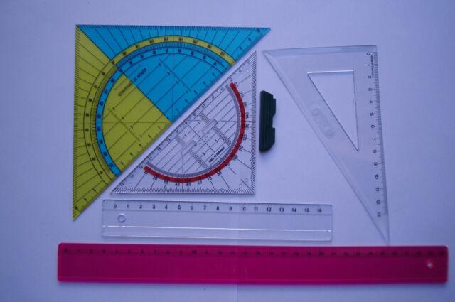 5 tlg. Geometrie Set Geodreieck Groß + Klein Lineal 16 + 30cm Zeichendreick 13cm