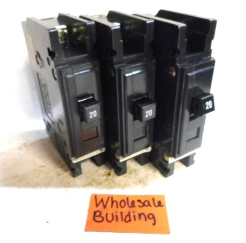 20A 120//240V QC1020 LOT OF 3 CUTLER-HAMMER CIRCUIT BREAKER 1 POLE
