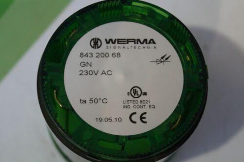 WERMA LED Dauerlichtelement Typ 843 200 68 84320068 Farbe GRÜN 230V AC