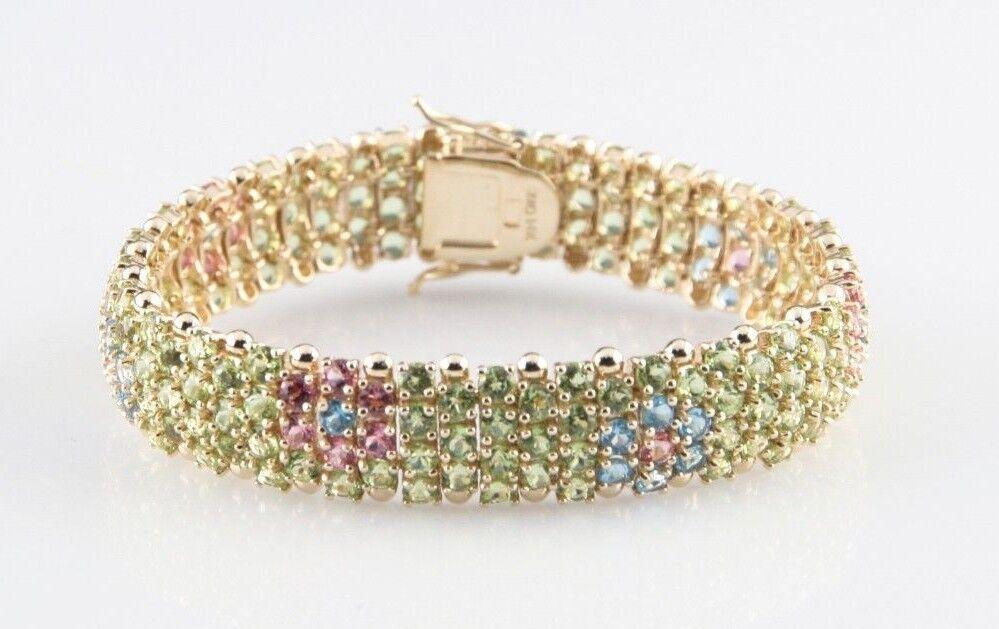 Multi-Gemstone Flowers 14k Yellow gold Link Bracelet MQ 14K