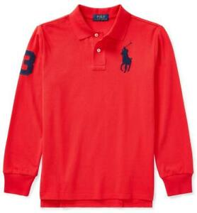 6aa602be Details about NEW Polo Ralph Lauren Boys Long Sleeve Polo Shirt BIG PONY  LOGO Signal Red *F2