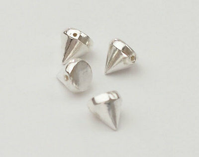 925 Sterling Silver 4 Tiny Cone Beads 5x5.5mm.