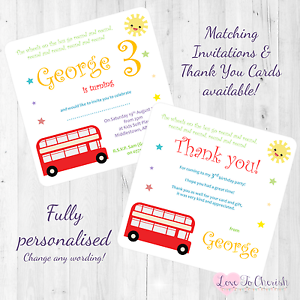 wheels on the bus personalised invites thank you birthday party