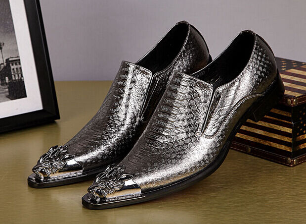 New Men's Pointed Pointed Pointed Toe Shiny Nightclub Formal Genuine Leather Punk Slip On shoes 75edd2