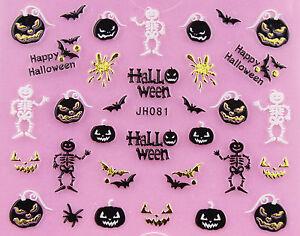 Halloween-Gold-Skull-Pumpkin-Vampire-Cat-Ghost-Grave-Cross-3D-Nail-Art-STICKERS