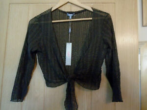 New-with-tags-Per-Una-by-Marks-amp-Spencer-brown-lacy-bolero-Cardigan-top-size-10