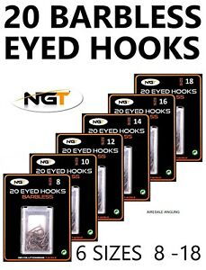 Assorted 90 Eyed Barbless Coarse Fishing Hook 3 4 5 6 7 8 9 10 11 12 Size in Box
