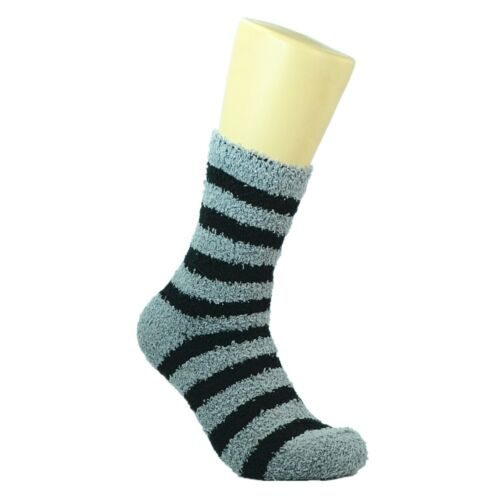 6 Pairs Mens Soft Cosy Fuzzy Winter Warm Striped Slipper Crew Socks Size 9-13