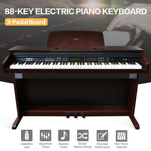 Music-88-Key-Electric-Digital-LCD-Piano-Keyboard-with-Stand-Adapter-3Pedal-Board
