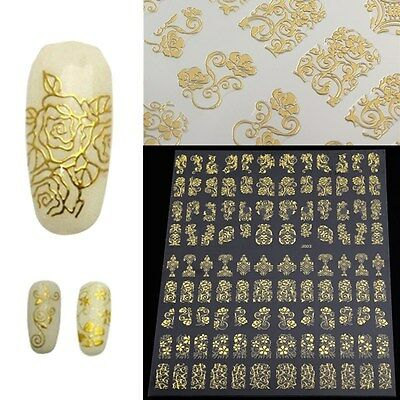 12 Sheets Flower 3D Decal Stickers Nail Art Tip DIY Decoration stamping Manicure
