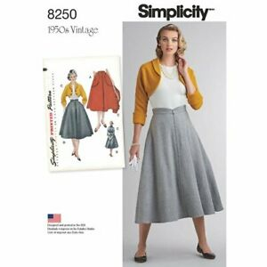 Simplicity-Sewing-Pattern-8250-H5-Misses-039-Vintage-1950-039-s-Skirt-amp-Bolero-SIZ-6-14
