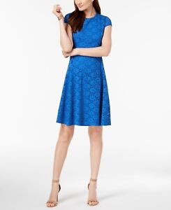 220 Alfani Womens Blue Lace Short Sleeve Crew Neck A Line