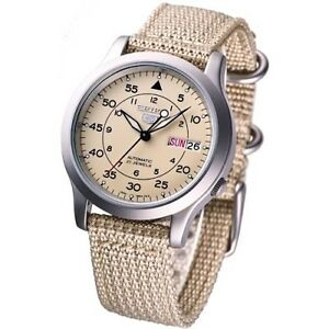 NEW-SEIKO-5-SNK803K2-AUTOMATIC-military-WATCH-CAL-7S26C-Beige-face-nylon-strap