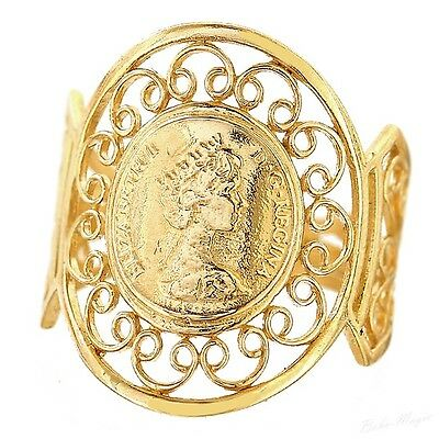 Gold Filled 14K Ring Coin Elizabeth Ii Warranty Sizable Free Shipping Isle Of