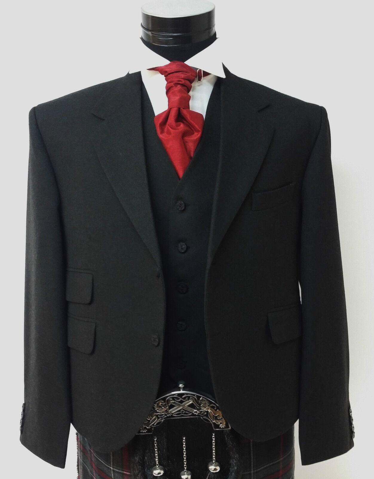 Black Day Jacket & Vest Waistcoat Quality Contemporary Formal Kilt Jacket & Vest