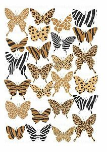 25 icing cupcake cake toppers decorations edible animal for Animal print edible cake decoration