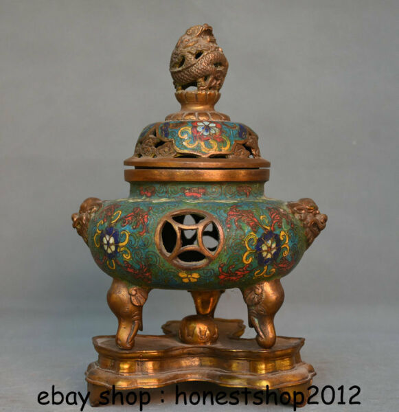 "10 ""old China Bronze Gild Cloisonne Elefant Dragon Lion Weihrauch Räuchergefäß"
