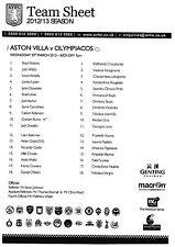 Teamsheet - Aston Villa v Olympiacos 2012/13 NextGen Series
