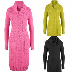 Bonprix-Roll-Neck-Cable-Knitted-Long-Jumper-Dress-Pink-Navy-Green-Black
