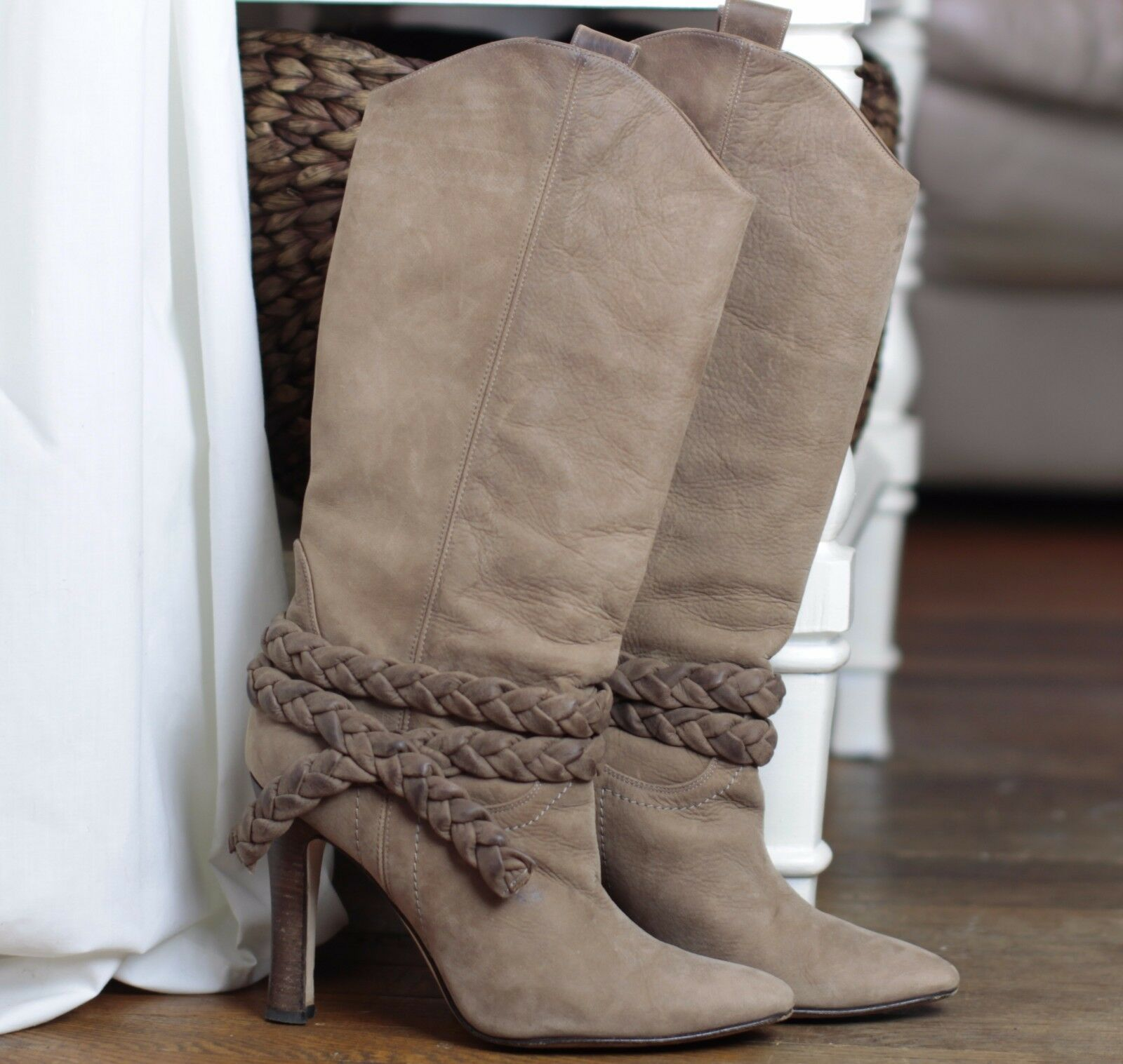 MANOLO BLAHNIK Tan Suede Pointed Toe Braid Trim Knee High Western Boots Sz 38