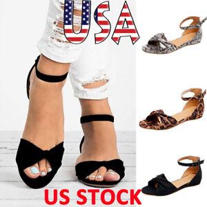 Women-Peep-Toe-Flat-Espadrilles-Sandals-Ankle-Strap-Bowknot-Shoes-Summer-Beach