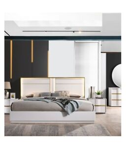 Image Is Loading Contemporary Eastern King Size Bed 4pc Bedroom Home