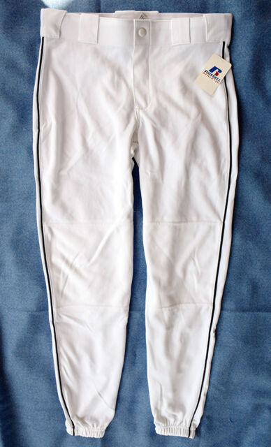 Russell Athletic Youth Size XL Baseball Pants White w/Black Piping, NWT