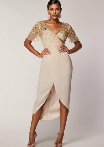 Virgos Lounge Ivory Julisa Embellished Cocktail Occasion Party Dress 10 To 14