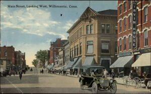 Willimantic-CT-Main-St-West-c1910-Postcard