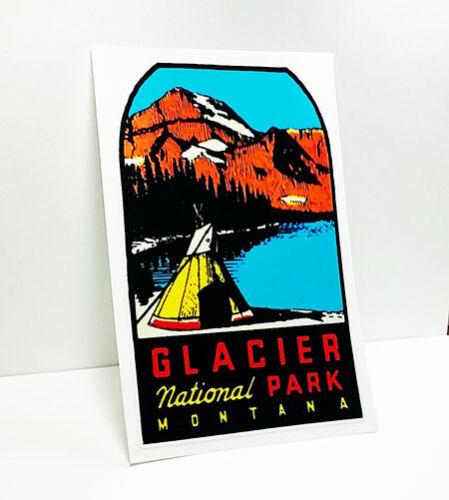 Vinyl Sticker Luggage Label Glacier National Park Vintage Style Travel Decal