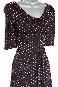 Monsoon Polka Short Dress Cowl Sleeve Casual Dot Red Black 38 Uk 10 Neck Eu arHfa