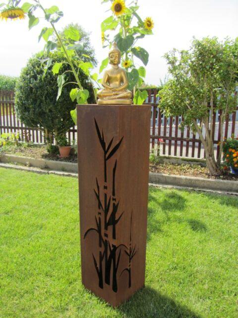 Säule BAMBUS  Rost  Edelrost Metall Gartendeko Stele Rost Deko Feng Shui Säule