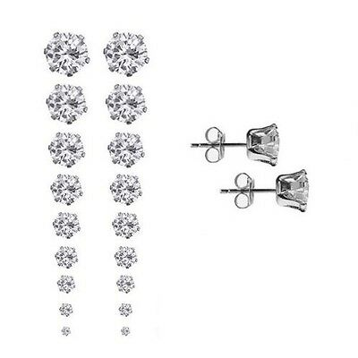 Set of 9 Pairs Round CZ Stud Earrings Prong-Set in Silver Tone Stainless Steel