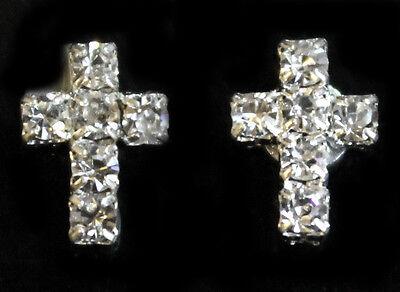 Tiny Cross Crystal Rhinestone Diamante Magnetic CLIP ON Earrings Stud Mens