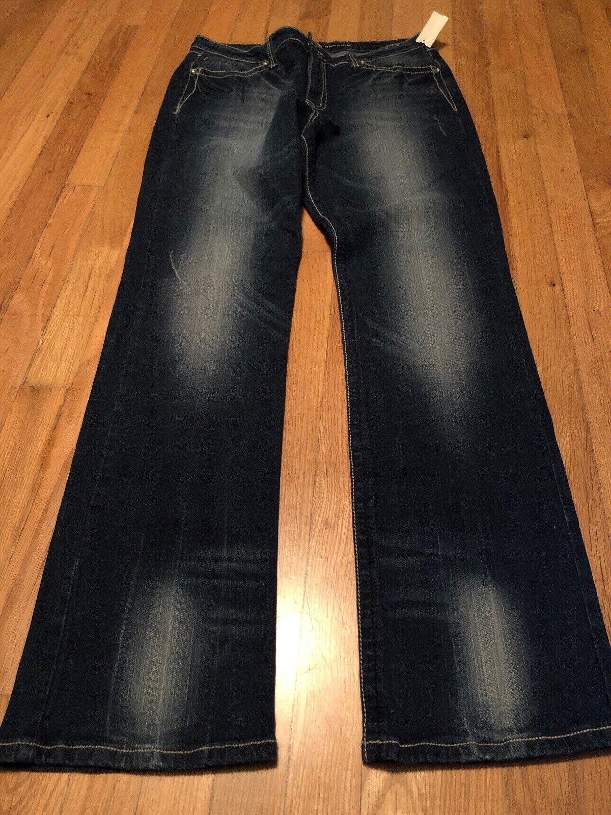 Ethyl Classic Women's bluee Rhinestone Cross Boot Cut Jeans Size 14 New