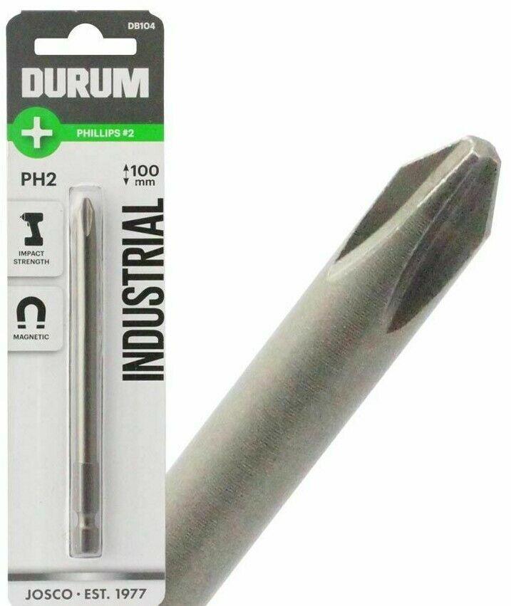 2x Durum PHILLIPS POWER SCREWDRIVER BITS - PH2x100mm, PH2x135mm Or PH2x150mm