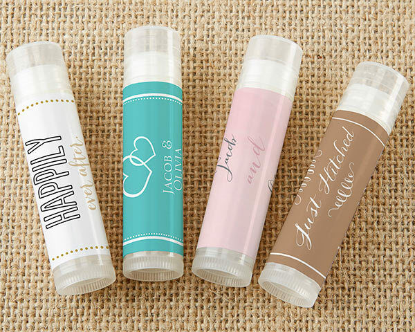 24 PERSONALIZED Coconut Scented Lip Balm Bridal Shower Wedding Favors
