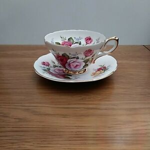 Royal-Sutherland-Footed-Teacup-amp-Saucer-made-Staffordshire-w-large-Roses