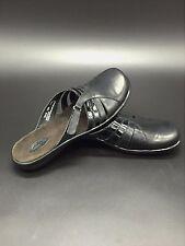 Clark's Black Leather Mary Jane Slide Size 10 Sandal Adjustable Strap 72415