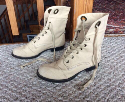 NINE WEST Pixie Boots Canvas Lace Up Women's 5.5