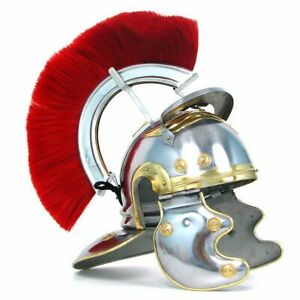 Medieval-Knight-Historical-Armour-Roman-Officer-Centurion-Helmet-With-Red-Plume