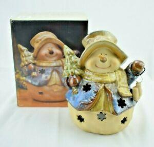 Kirkland's - Potter's Garden II Porcelain Snowman Tealight Candle Holder w/Box