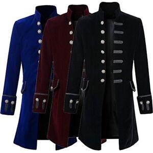 UK-Men-Retro-Jacket-Coat-Jacquard-Steampunk-Overcoat-Costume-Cosplay-Gothic-HOT