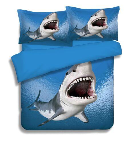 3D Sea Shark Nature 7 Bed Pillowcases Quilt Duvet Cover Set Single Queen King CA