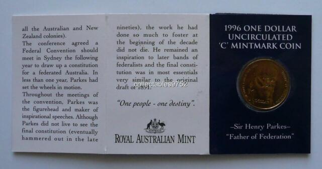 Adelaide Folder 1996 $1 Dollar Sir Henry Parkes MM  A UNC.