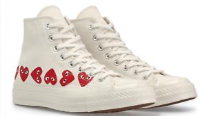 CONVERSE X COMME DES GARCONS Chuck Taylor '70 HI Multi Heart White Shoes 4-11